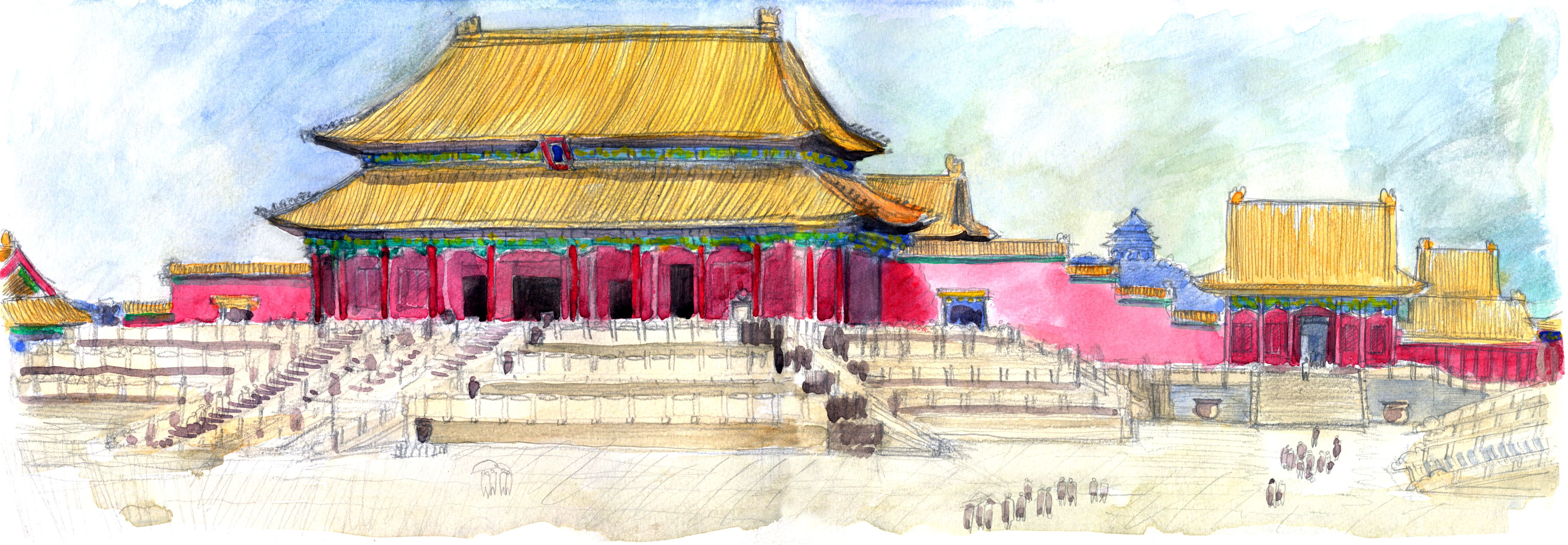 Tai He Dian Forbidden City Beijing China Canvas Painting Diy Chinese Drawings City Drawing