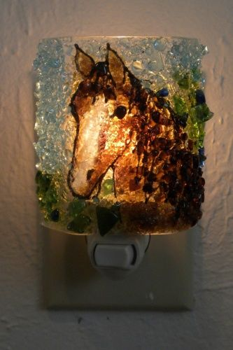 Horse Recycled Bottle Glass Night Light