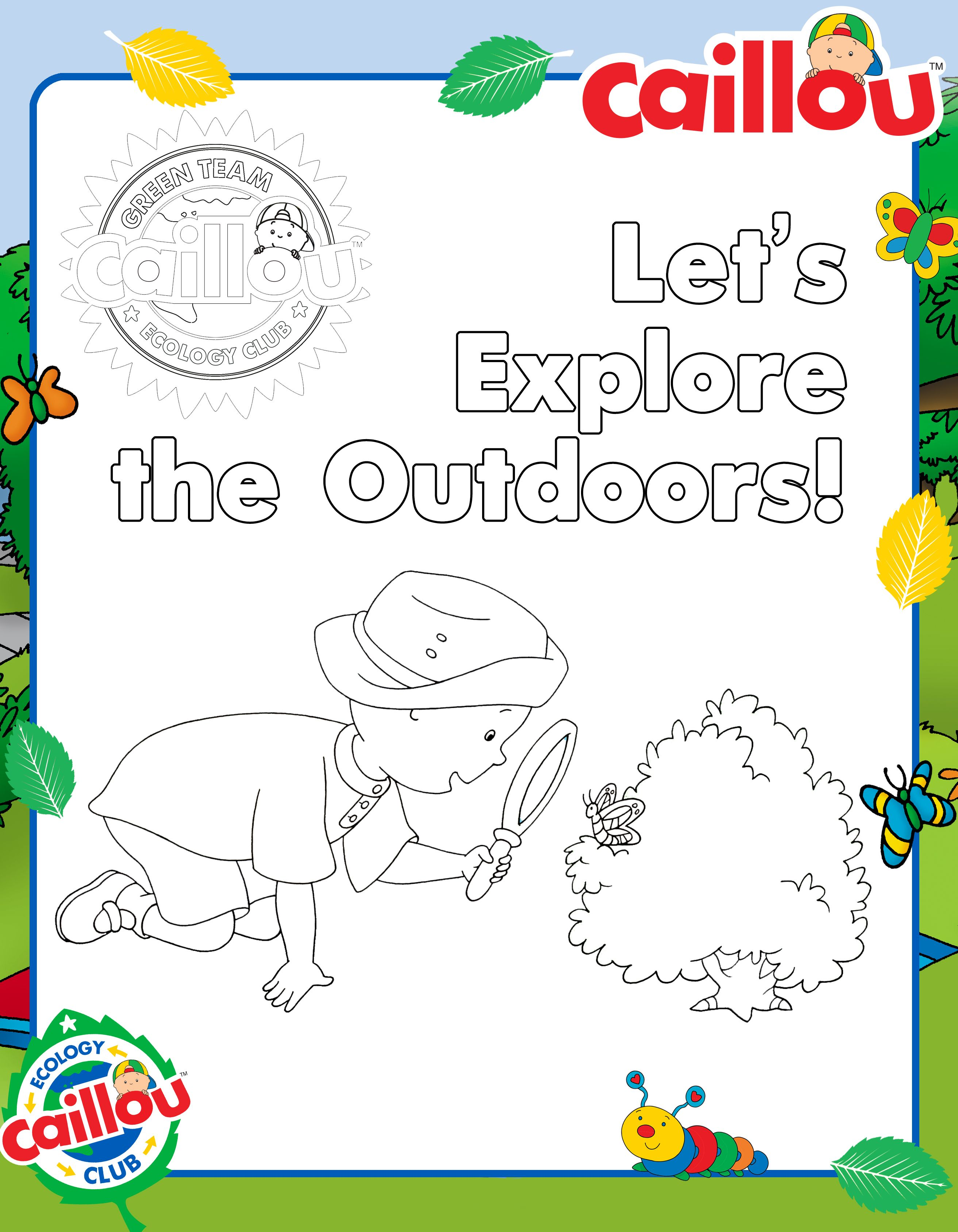 Explore The Outdoors With Caillou Coloring Sheet