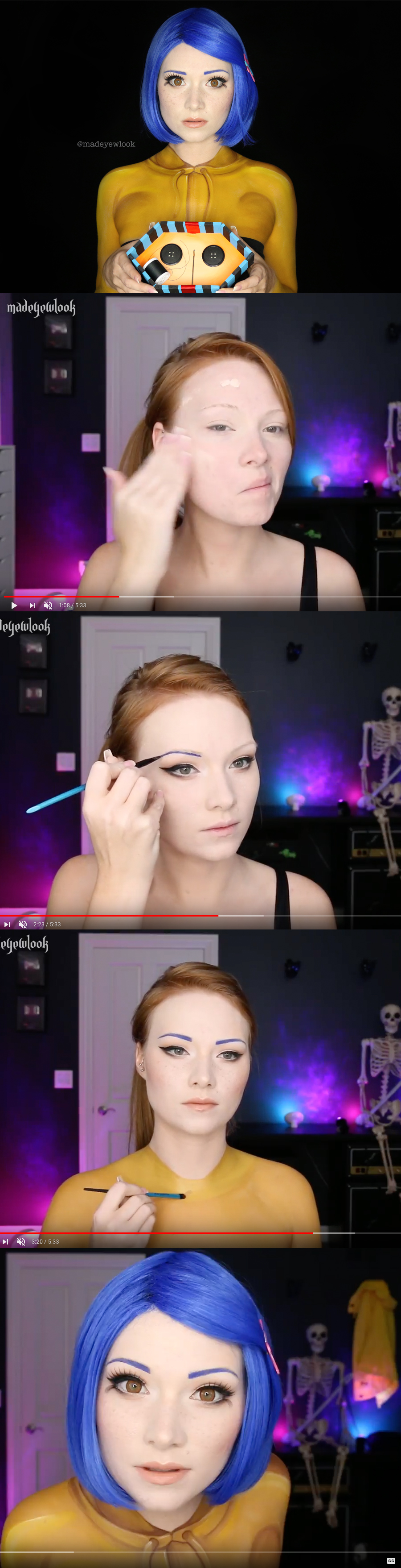 Coraline makeup for halloween clothing is also painted youtube