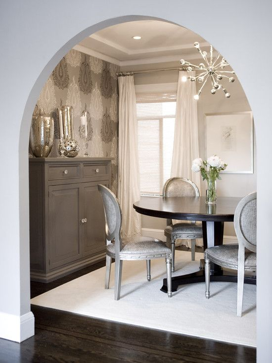 Great Use Of Small Space Smaller Table Airy Chandelier And Skinny Buffet Contemporary Dining