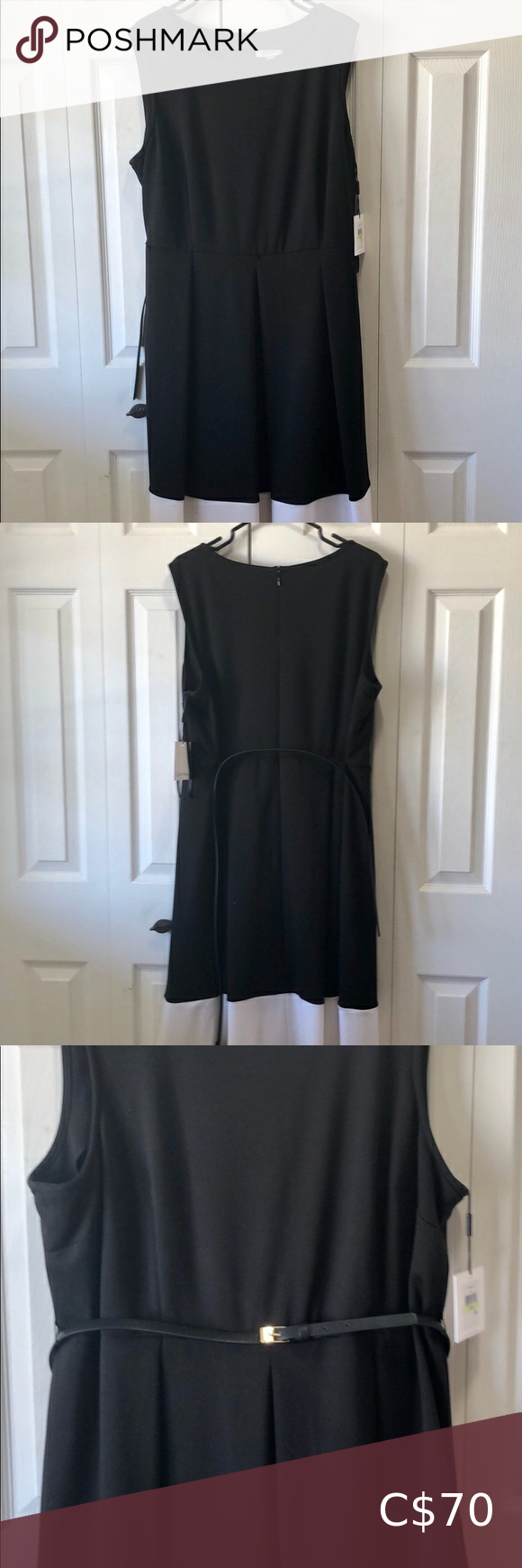 Calvin Klein Dress Black Dress With White Trim At Bottom Very Comfy And Well Made Nwt A Spot Womens Dress Jackets Fitted Blue Dress Calvin Klein Black Dress [ 1740 x 580 Pixel ]
