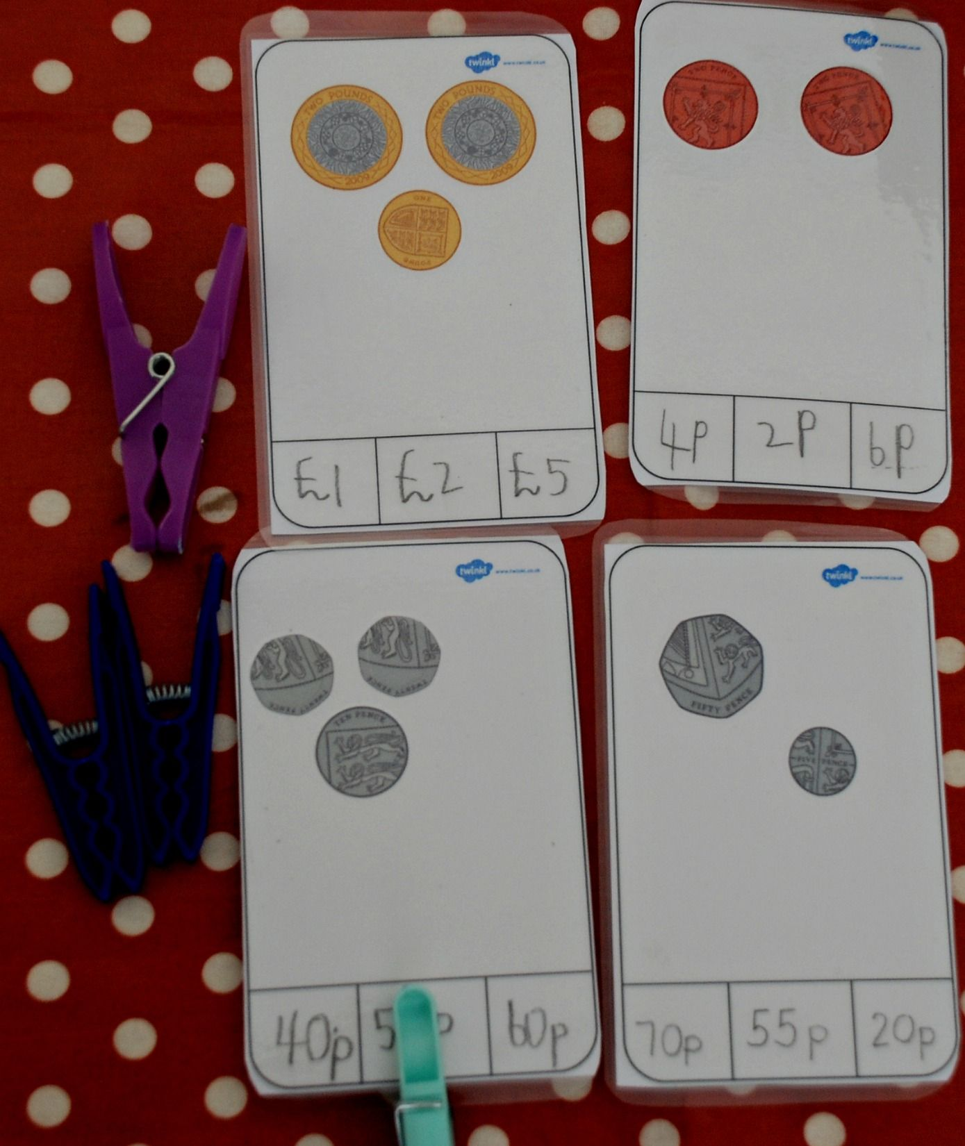 Making Our Own Money Peg Cards