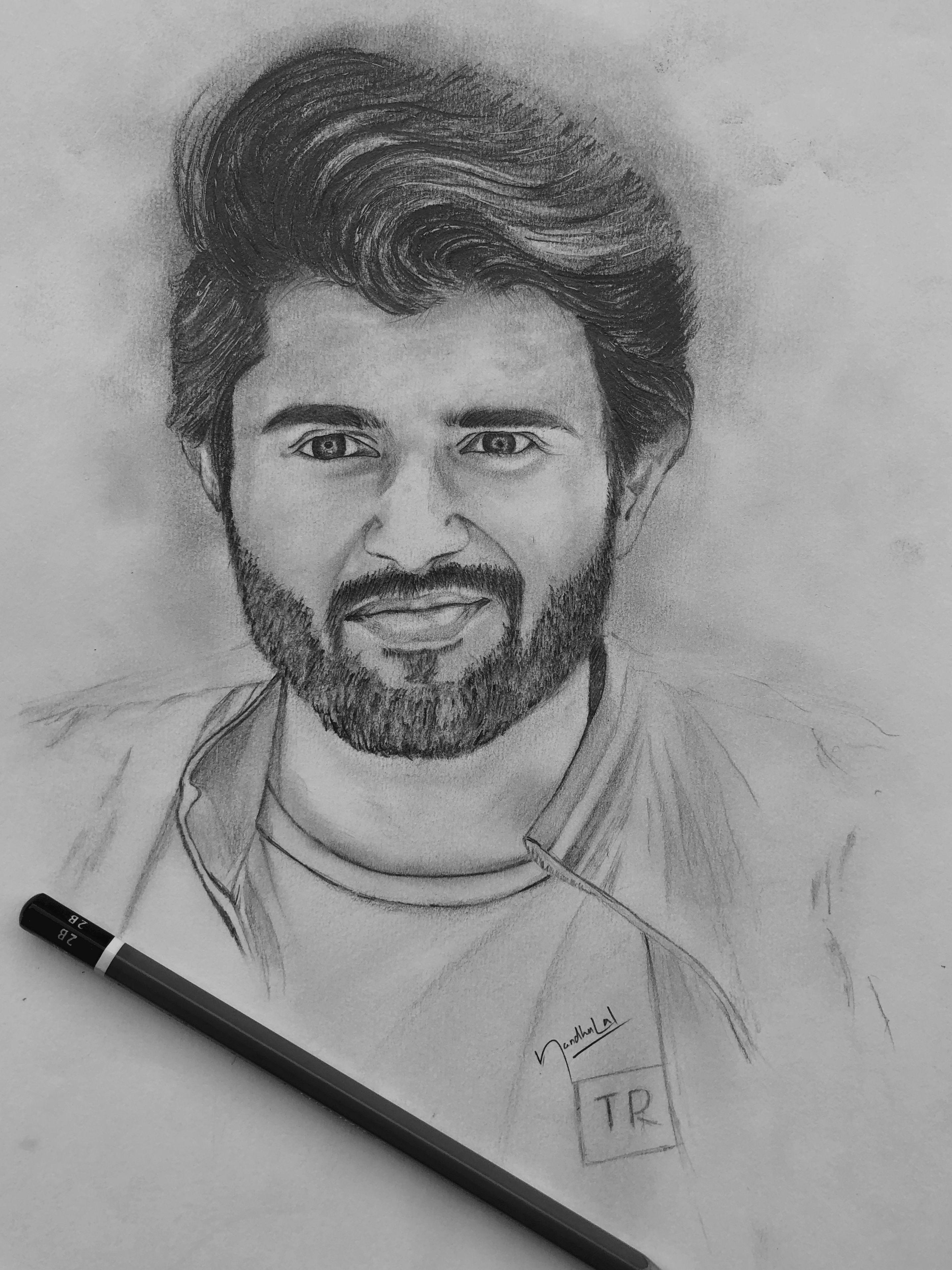 Vijay Devarakonda Pencildrawing Art Telugu Actor Southindian Hero Vd Fans Vijaydevar Abstract Pencil Drawings Celebrity Drawings Pencil Sketch Portrait