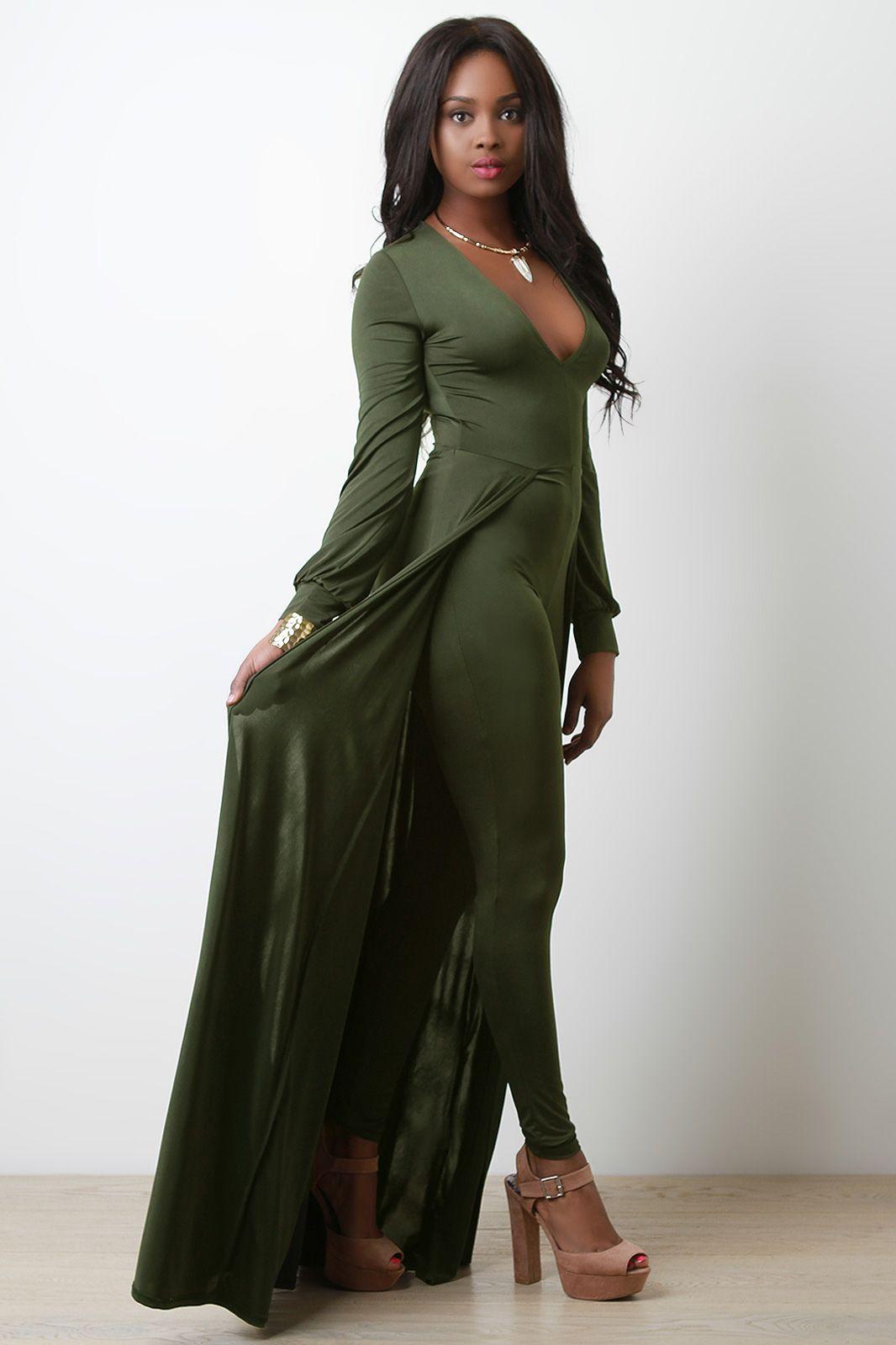 3ba0689af28d FREE SH   Easy Returns! Shop this combo jumpsuit maxi dress features ...