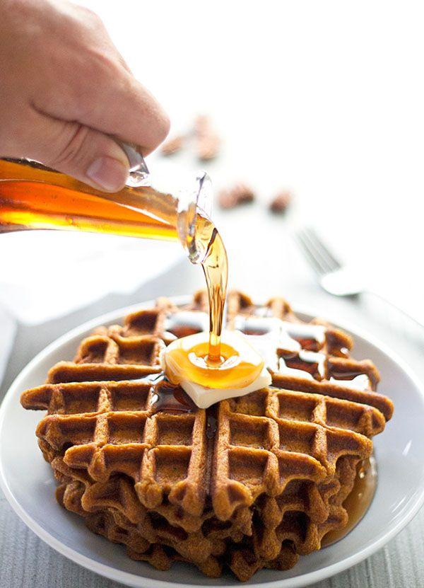 Pumpkin Spiced Pecan Waffles