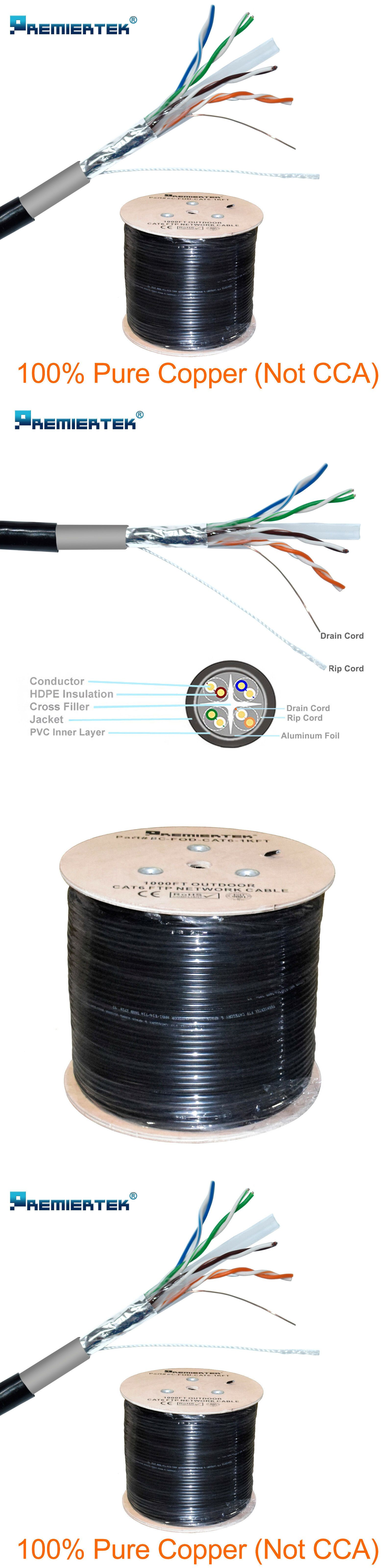 Ethernet Cables Rj 45 8p8c 64035 Pure Copper Ftp Cat6 1000ft Shielded Outdoor 23awg Cable Solid Direct Burial Uv B Pure Copper Pure Products Ethernet Cable