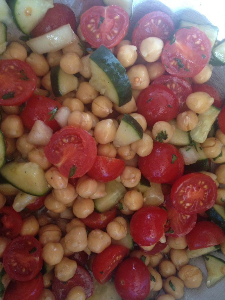 THIS IS DELICIOUS!!!  chick pea salad, I added a can of black beans to mine to give it a little more protien.