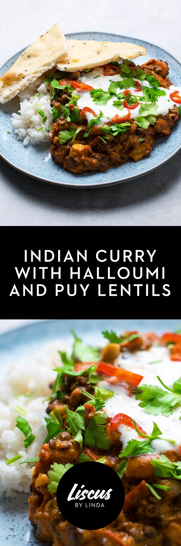 Indian Curry With Halloumi And Puy Lentils Curry Recipes Indian Food Recipes Veggie Recipes