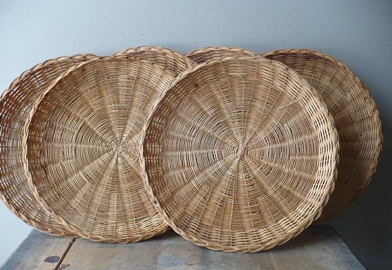 Vintage Paper Plate Holder Set of Six Wicker Paper Plate | Winter ...