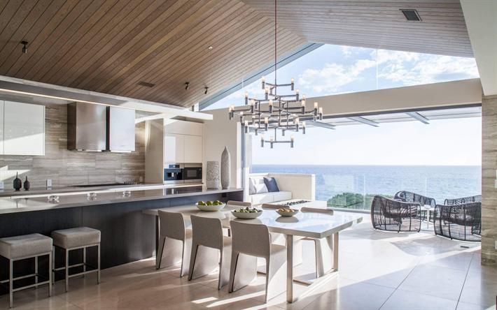 Download Wallpapers Kitchen Living Room Modern Design Villa Country House Modern Interior Besthqwallpapers Com Contemporary Kitchen Dream Kitchens Design Kitchen Design