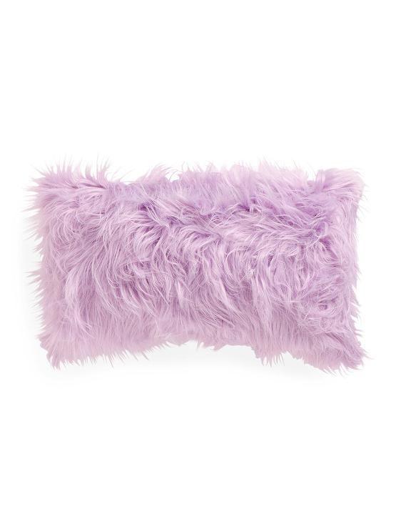 Rectangular Lavender Faux Fur Pillow