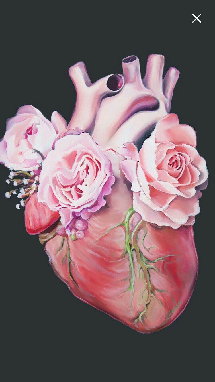 Corazon Anatomico Con Flores Dibujos De Corazones Arte De Corazon Arte De Anatomia