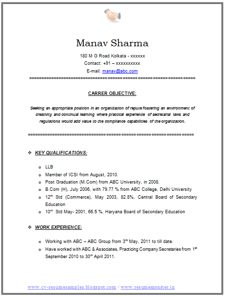 Beau Latest LLB And Company Secretary Resume Sample In Doc