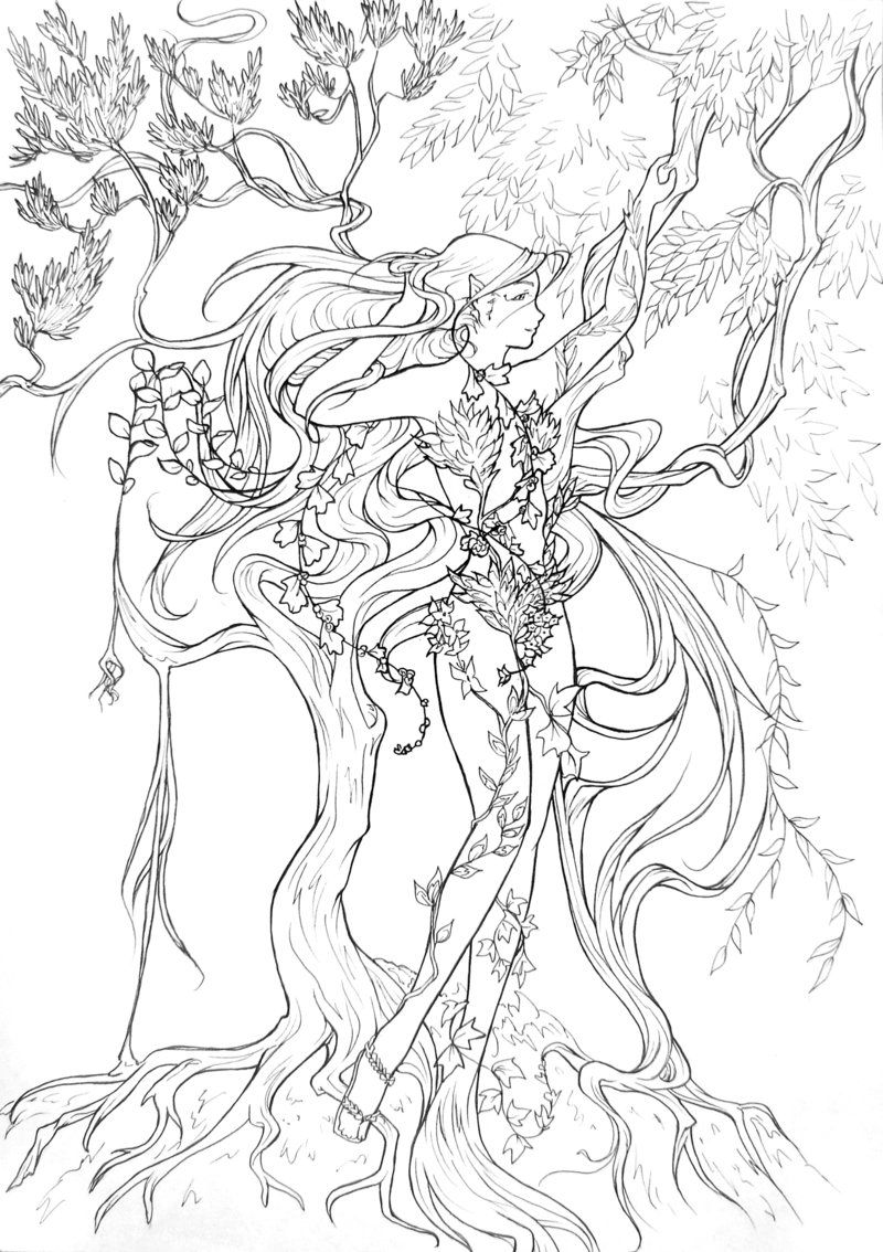 Line Art For Coloring : Entwinned nature lineart by atelierdereve on deviantart