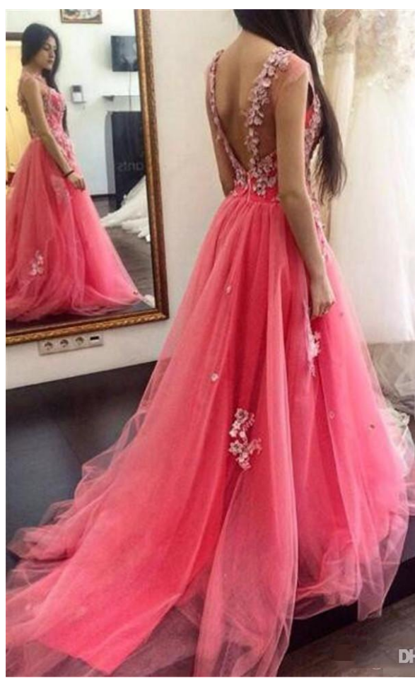 Water Melon Tulle Backless Prom Dresses Modest Sheer Neck Lace ...