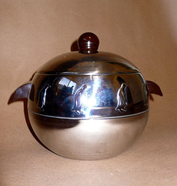 Vintage Penguin Ice Bucket  Hot and Cold Server  West by chriscre