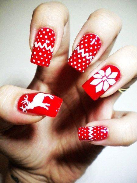 easy christmas nail art for short nails reindeer and snowflake christmas nail art for short nails - Easy Christmas Nail Art For Short Nails