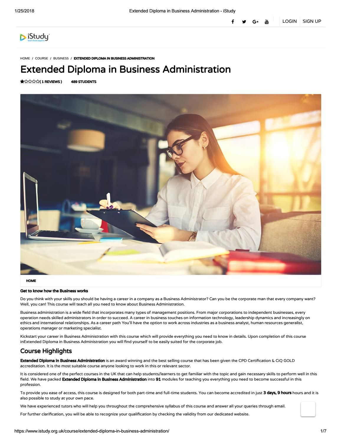 Extended Diploma In Business Administration Istudy Learn A New