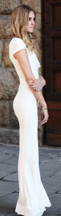 White Maxi Bodycon Dress//  isn't this the dress Princess Kate's sister wore to the wedding??