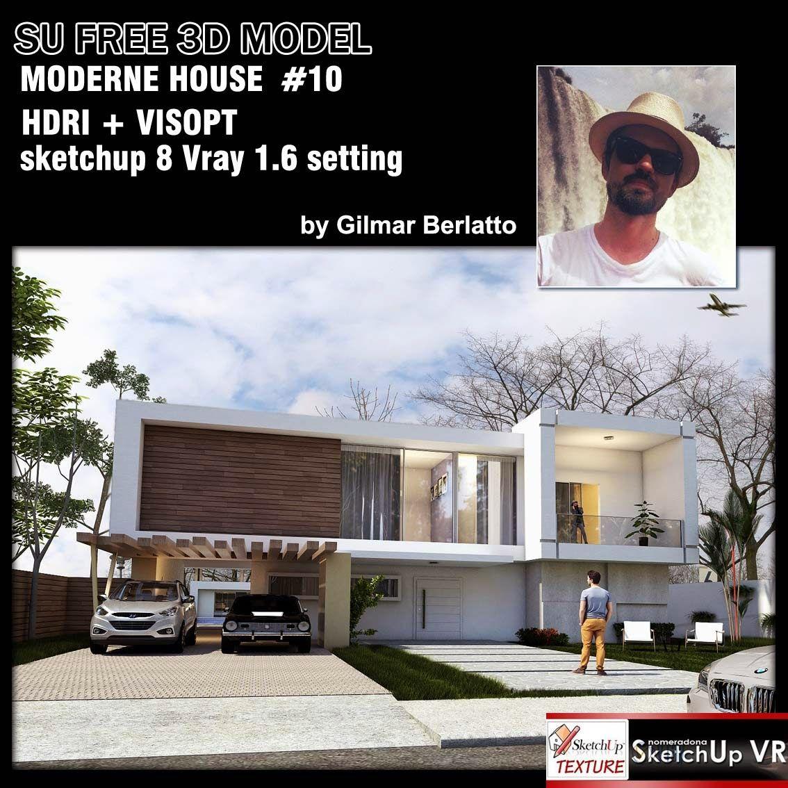 sketchup3d modelmoderne house 10by Gilmar Berlatto vray 16