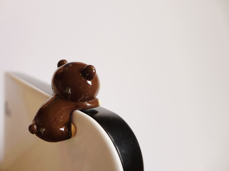SALE 80-20%OFF: Cute Chocolate Brown Bear // iPhone Plug . Phone Charm . Phone Plug . Dust Plug - Hand Painted, bear, Kawaii, Girly. $3,90, via Etsy.
