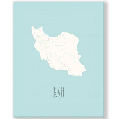 KindredSolCollective Iran Map Graphic Art Print on Canvas Size 36
