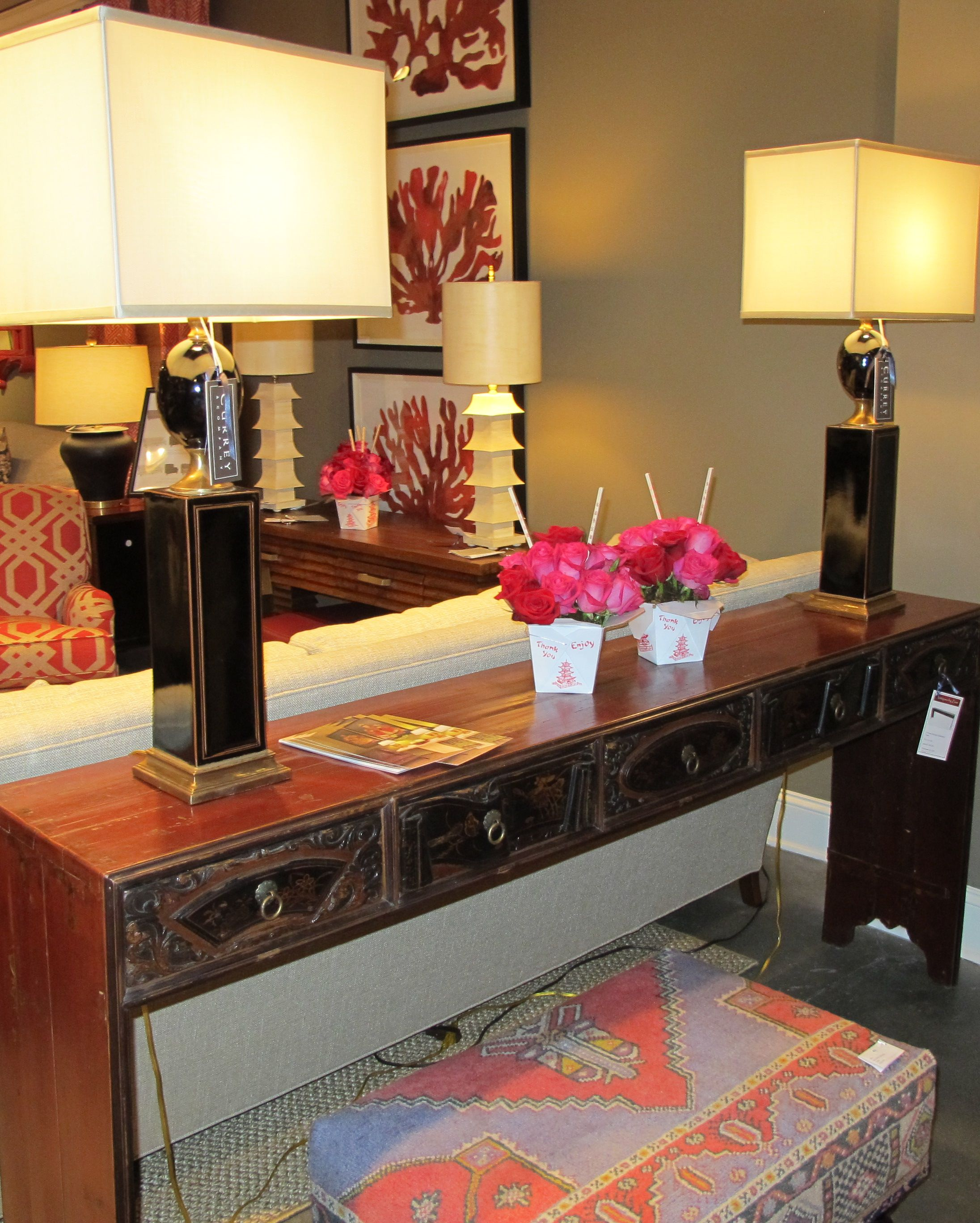 Glass console table with mirror chineseantique console table on display at the cr laine showroom in