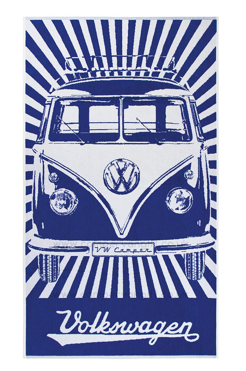 Volkswagen Blue Campervan Beach Towel Vw bus, Volkswagen