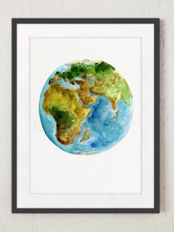 Africa map planet earth watercolor painting blue green yellow globe africa map planet earth watercolor painting blue green yellow globe art print solar system gumiabroncs Images