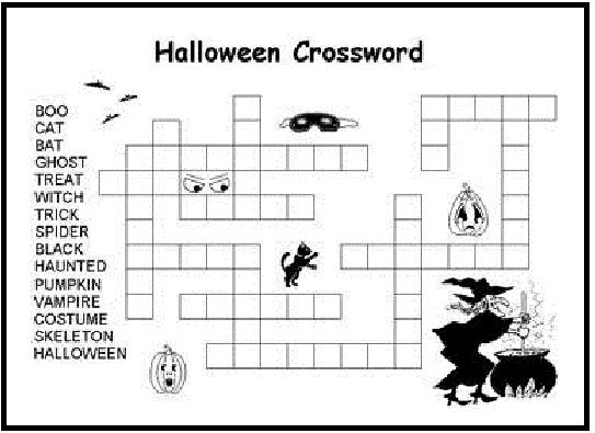 printable halloween crossword for kids coloring - Halloween Activity Sheets