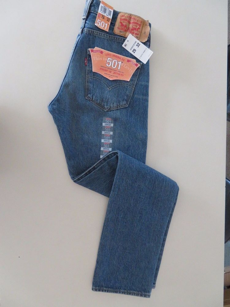 889dc371 Levi's Mens 501 Original Straight Leg Jeans,Medium Faded Size 29 X 32 #4649  #Levis #OriginalStraightLeg