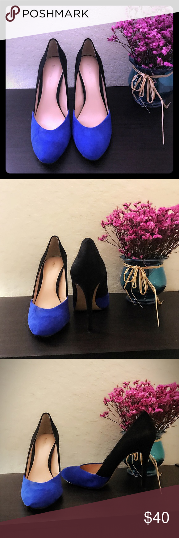 💖BCBG Gorgeous color block heels Fantastic Black and Blue BCBG heels, the round toe makes them super comfortable, yet they are a compliment magnet. Only worn twice.🔥🔥🔥 BCBG Shoes Heels