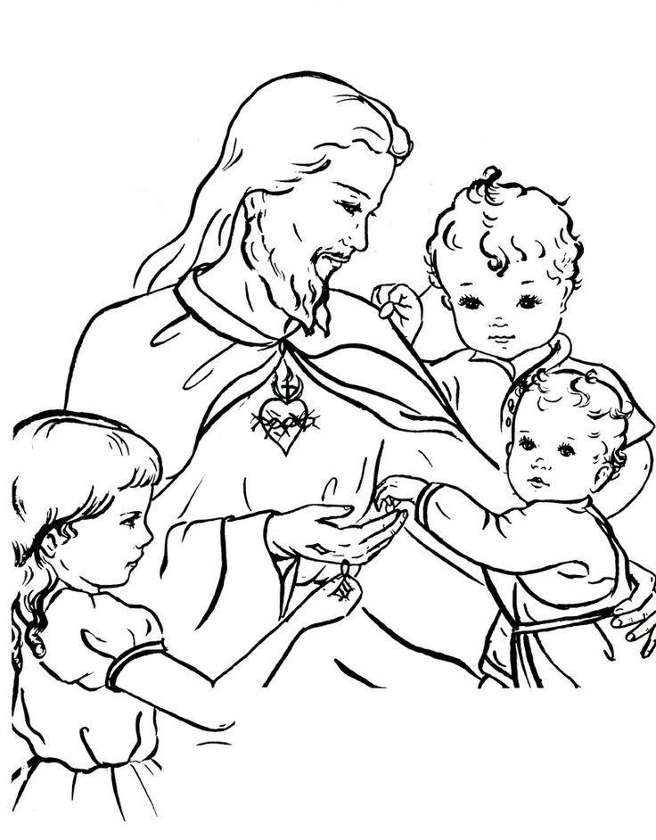 jezus en kinderen catholic coloring coloring pages