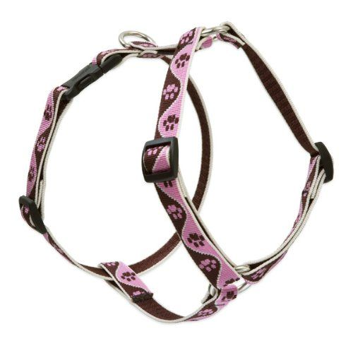 "$18.50-$18.50 Lupine 3/4"" Tickled Pink 12-20 Roman Dog Harness - All Lupine products are proudly built in Conway, New Hampshire and Guaranteed (Even if Chewed). Made from jacquard woven nylon, with the pattern woven into the webbing (never printed or sewn on!) 3/4"" wide harnesses are suitable for the widest range of dogs, from terriers to sporting breeds. Features strong bar-tack stitching, welde ..."