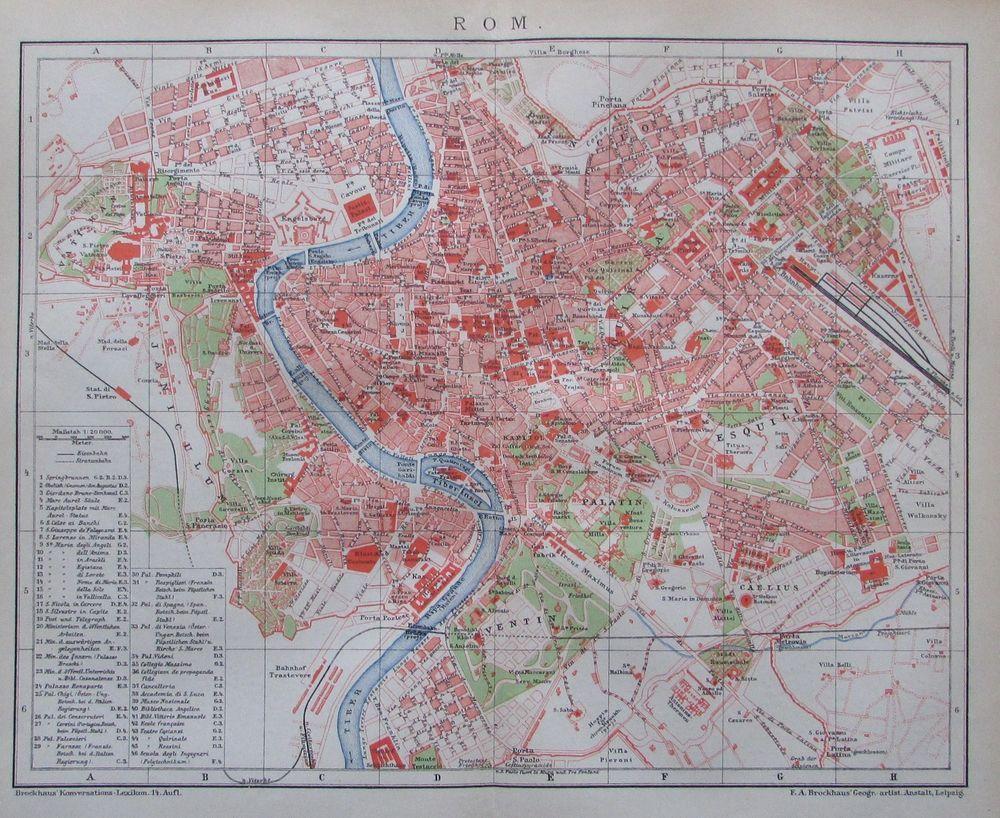 1895 Rom Italien Alter Stadtplan Karte Antique City Map Rome