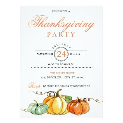 Thanksgiving Party Pumpkins Invitation Card  Thanksgiving