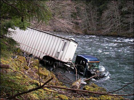 Semi-truck loses control and crashes into the North Umpqua