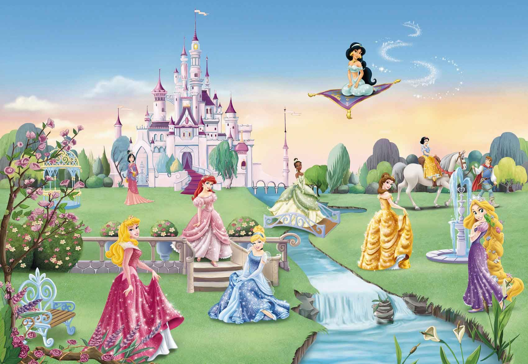 Cool cartoon murals character disney pixar for Disney princess castle mural