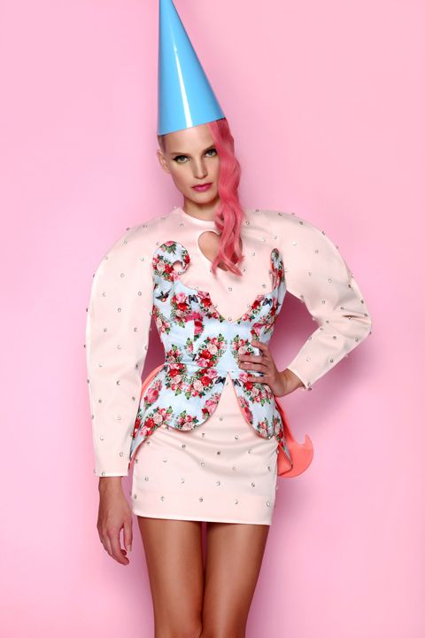 Powder pink dress & printed corset ANA LJUBINKOVIC f/w 2012/13 #ana_ljubinkovic