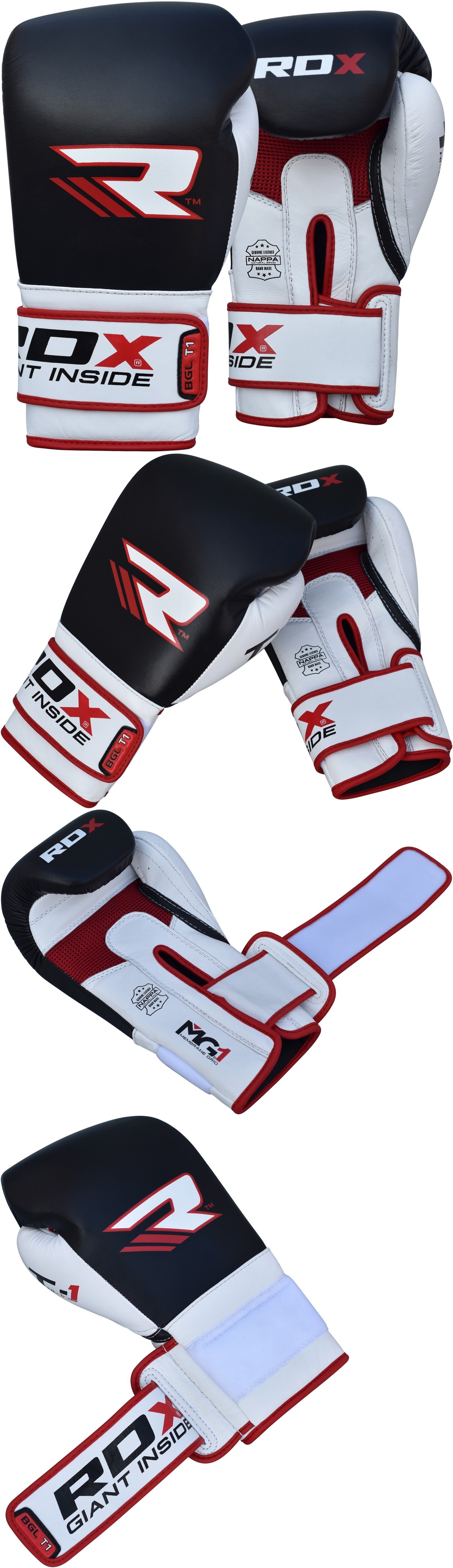 Gloves Martial Arts Rdx Boxing Gloves Leather Training Muay Thay Sparring Glove Black