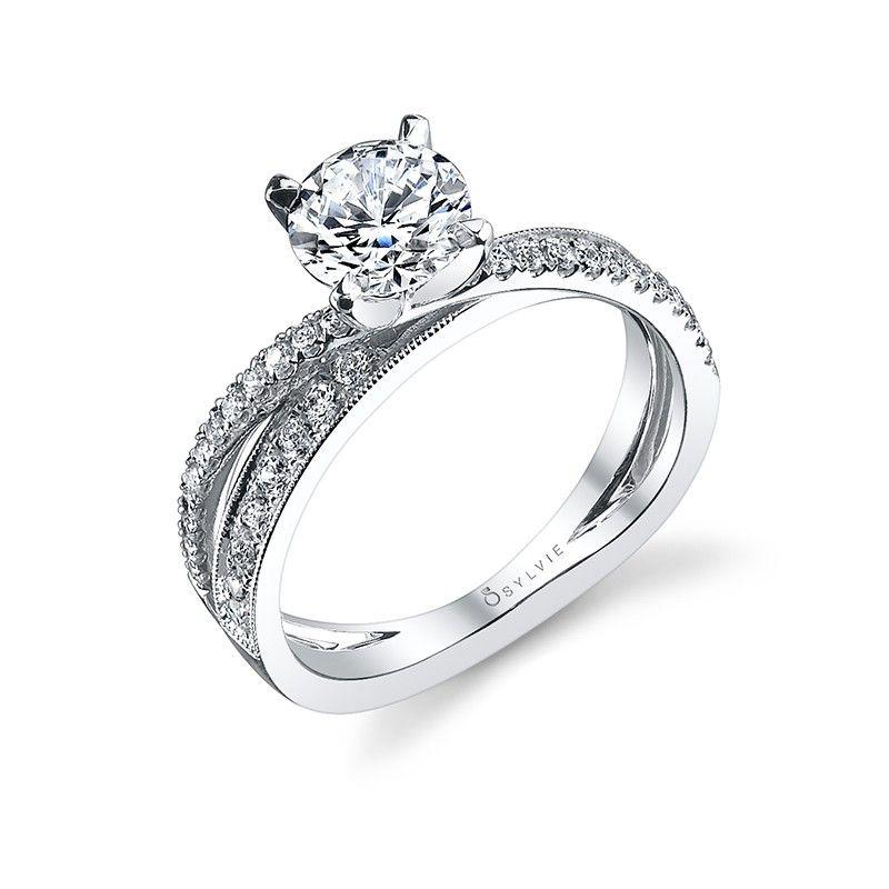 Style S1108 Criss Cross Design Round Brilliant Diamond Engagement Ring