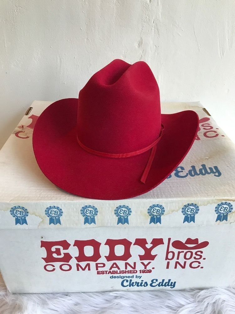 49daafc7271 Eddy Bros Women s Cowboy Hat 7 56 XX Fur Blend Wool Chris Eddy Red Box   EddyBrothers  CowboyHat