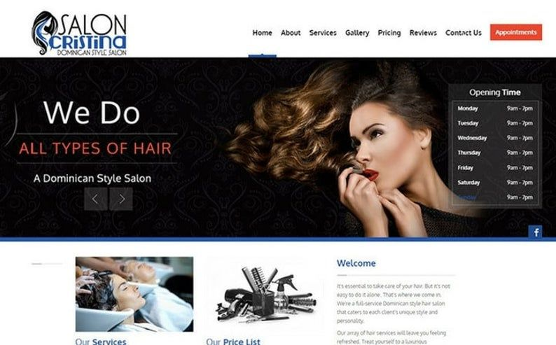 Hair Salon Website Design Including Beauty Business Theme Website With Seo In 2020 Hair Salon Website Design Salon Website Hair And Beauty Salon