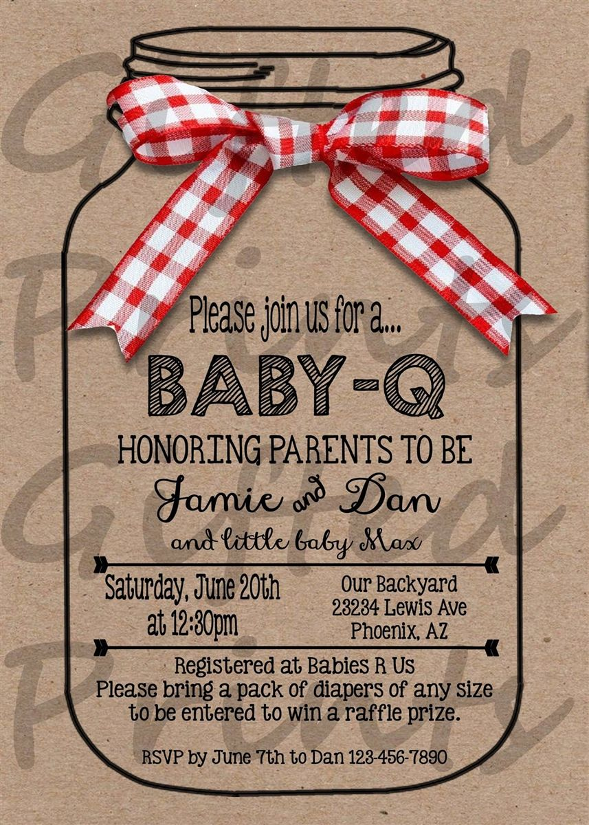 Baby Q Baby Shower Invitation Mason Jar Border Shower Invitations