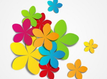 Colored Flowers Vector Background Vector Free Colour Paper