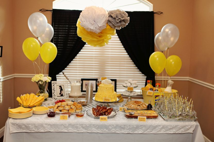 Delectable Yellow And Grey Themed Buffet Spread For Baby Shower