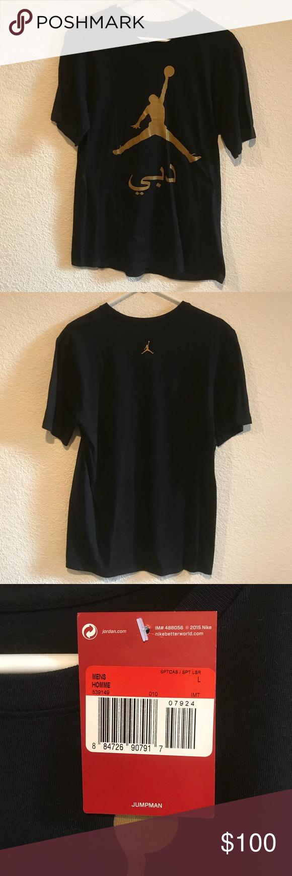 "1874f2cf6 Air Jordan Dubai City Shirt 839149-010 Gold Large I'm selling a Brand New  With Tags Air Jordan ""Dubai City"" Shirt in Black with Gold print!"
