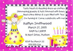 princess dress up wording | Dress-Up Tea Party Birthday Party invitation