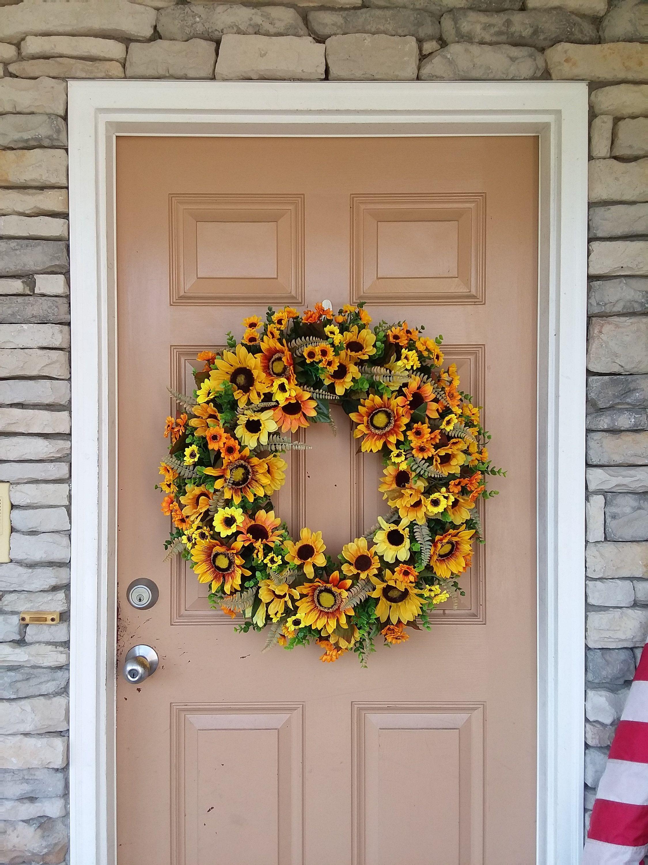 Sunflower Front Door Wreath Fall Front Door Wreath